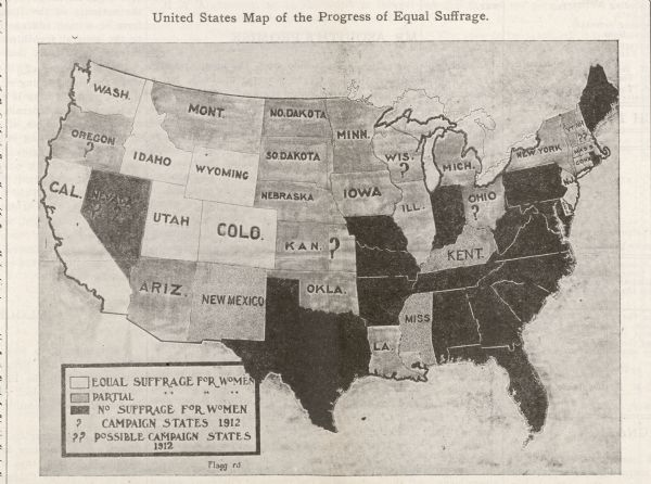 A map showing proportions of women's suffrage in the United States.