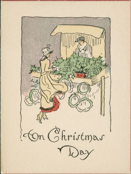 A Christmas greeting card with an illustration of a woman at a market stall with wreaths and greenery.