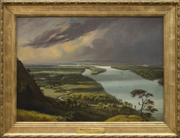 This landscape painting by Samuel Marsden Brookes and Thomas H. Stevenson depicts a broad view of the confluence of Bad Axe and Mississippi Rivers; site of the concluding battle of the 1832 Black Hawk War.