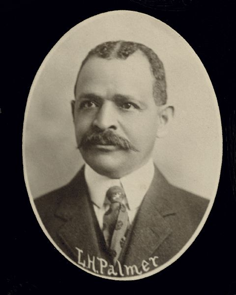 Head and shoulders portrait of Lucian (or Lucien) H. Palmer from the 1907 composite image of the Wisconsin Assembly. In 1906, Palmer (a Republican) was the first African American to be elected to the Wisconsin Assembly, serving in 1907.